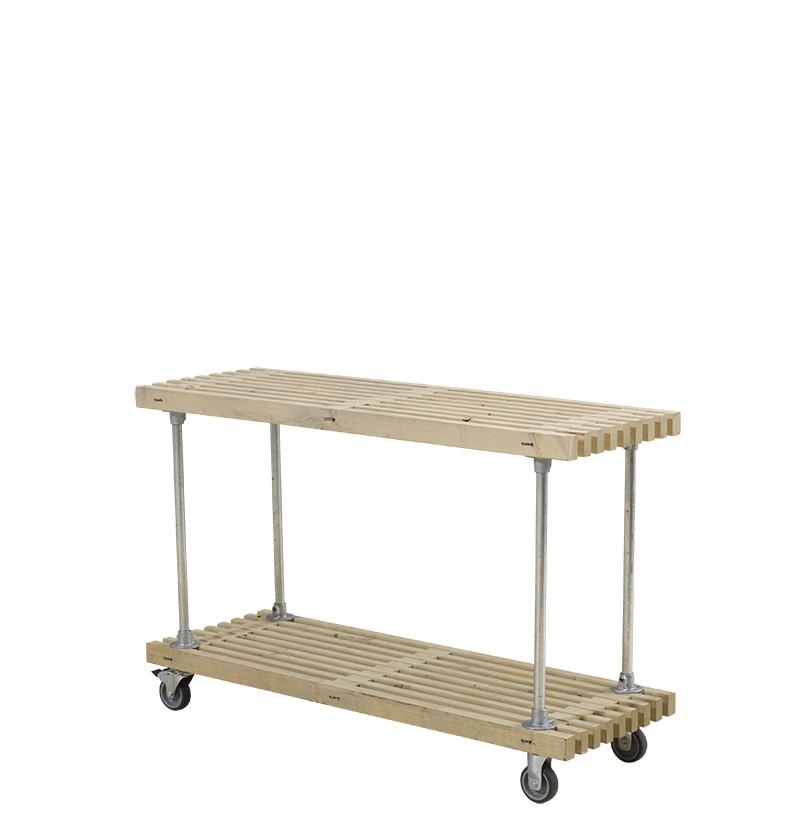 Tralle grill-anretterbord Design m/hjul 140x49x90 cm - drivtømmerfarve