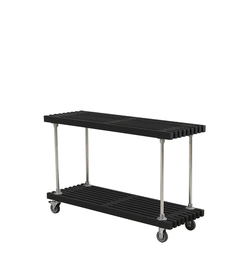 Tralle grill-anretterbord Design m/hjul 140x49x90 cm - sort