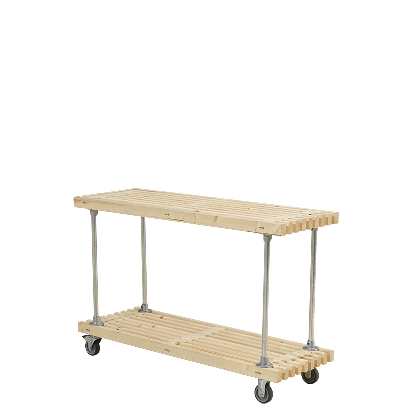 Tralle grill-anretterbord Design m/hjul 140x49x90 cm - ubehandlet