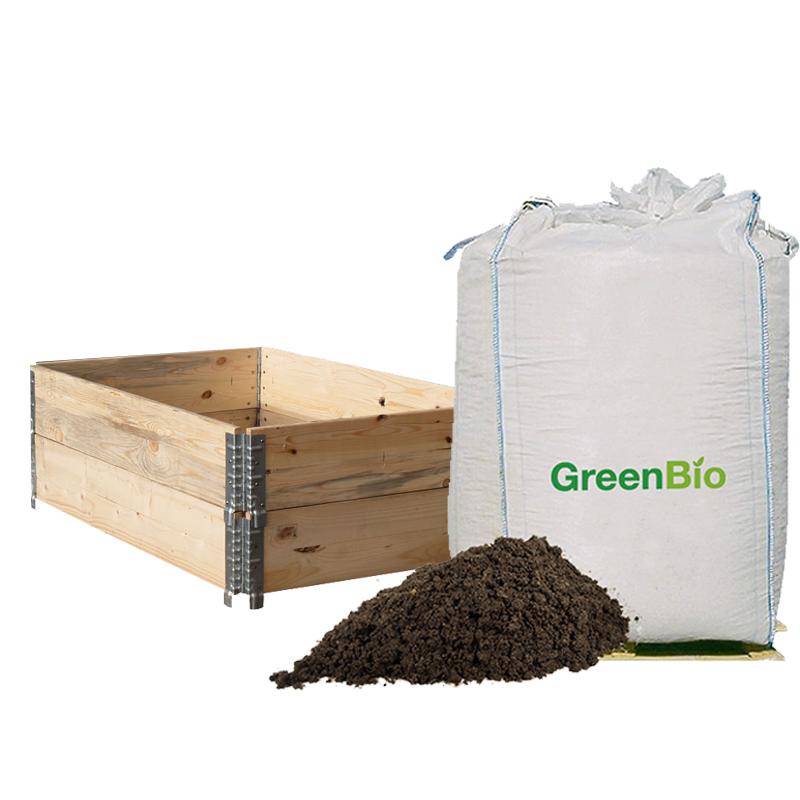 Image of   Pakke til 1 højbed med 2 træfarvede pallerammer