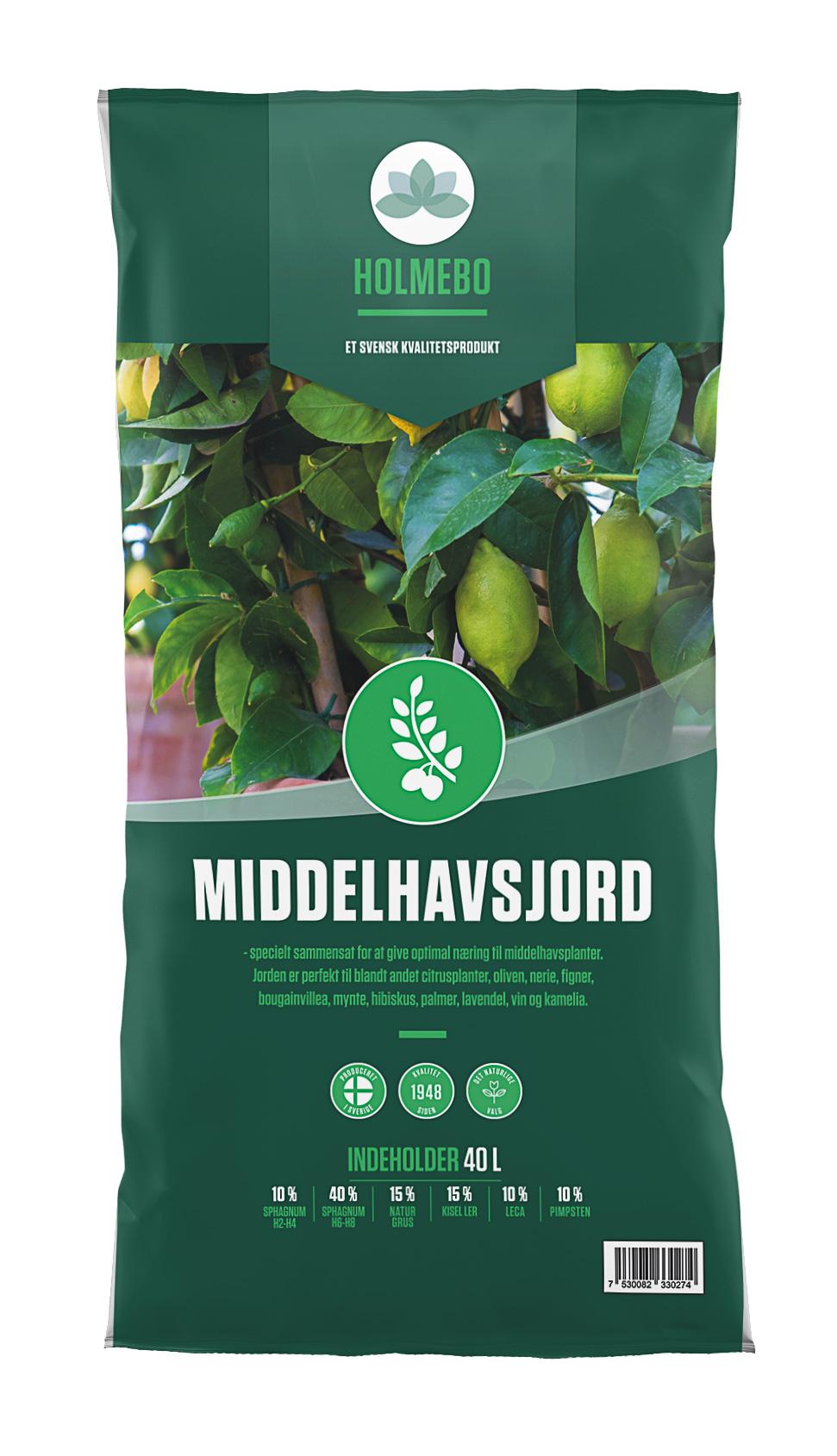 Holmebo Middelhavsjord - Pose á 40 liter