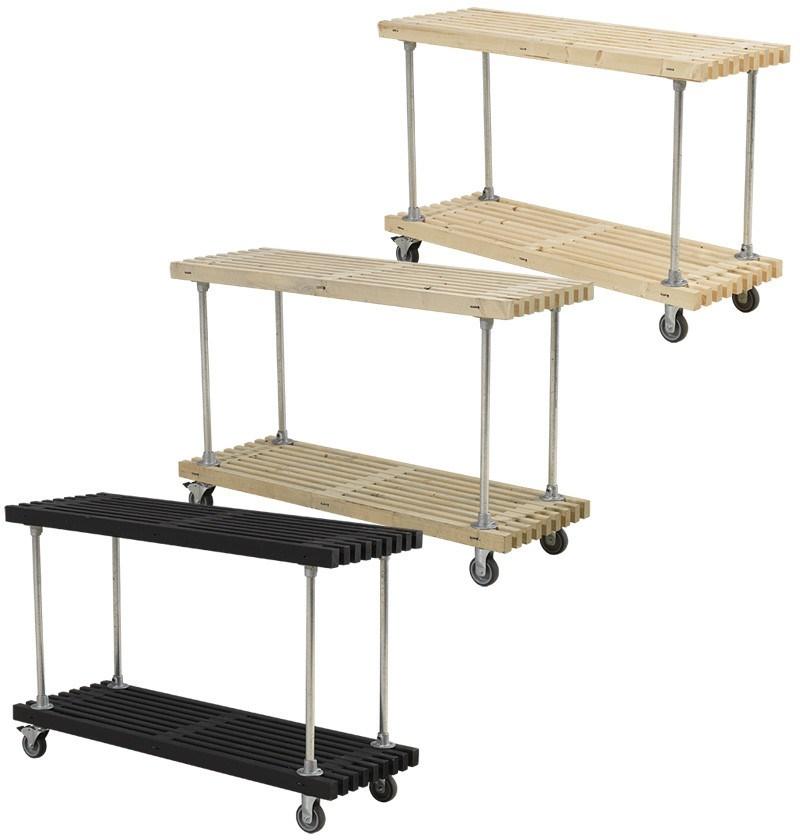 PLUS - Tralle grill- og anrettebord m/hylde og hjul - 3 varianter - 49x140x90 cm