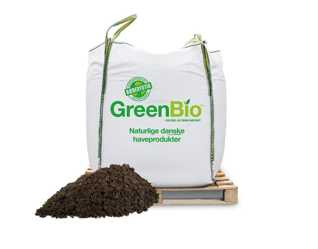 GreenBio Gartnermuld 0-20 mm. Bigbag á 1000 liter