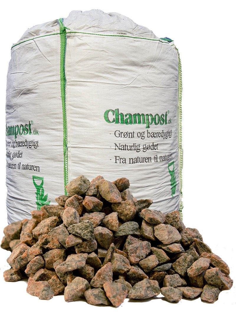 Røde granitskærver 8-12 mm - bigbag á 1 ton