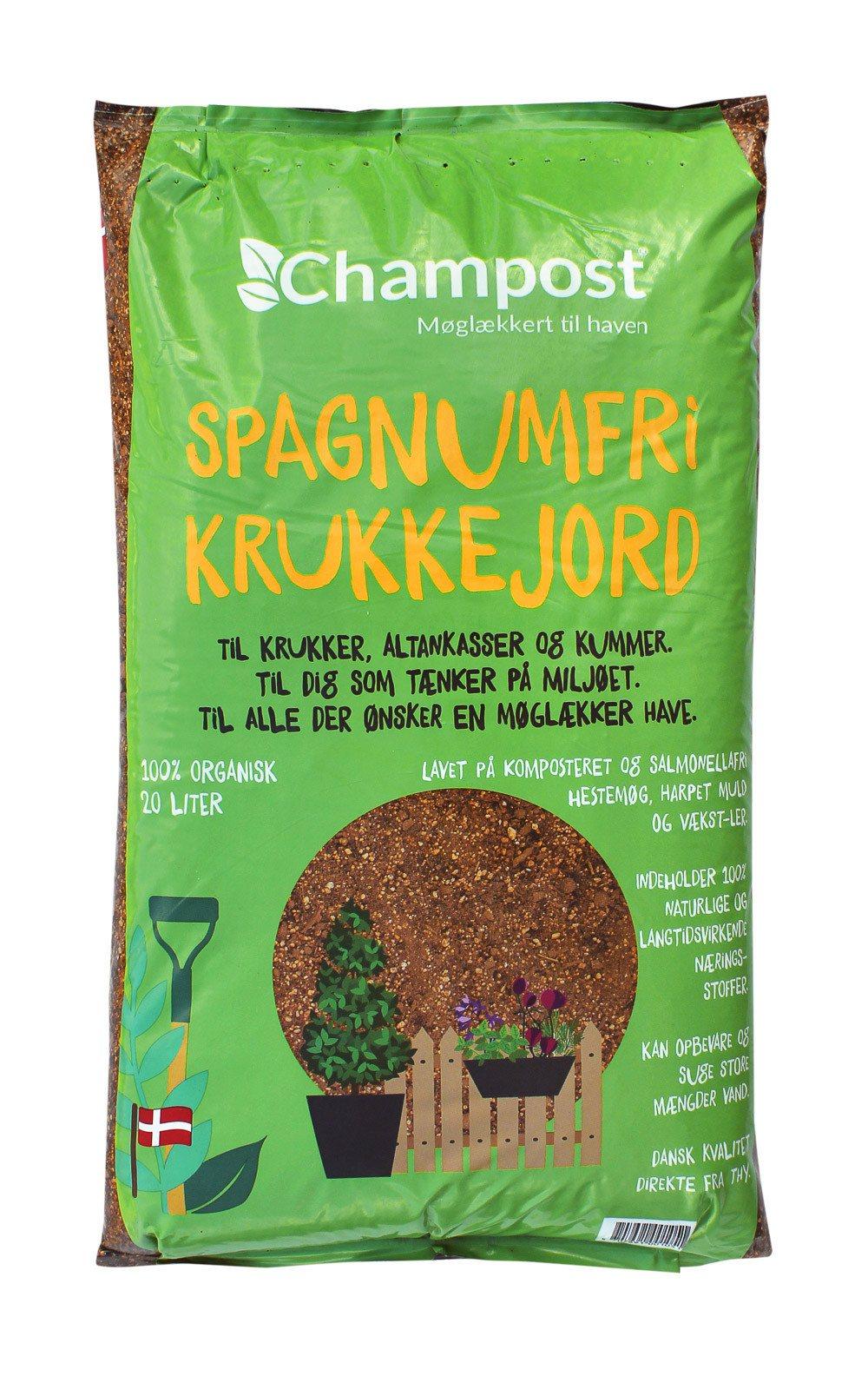 Champost Krukkejord Spagnumfri - 20 liters pose