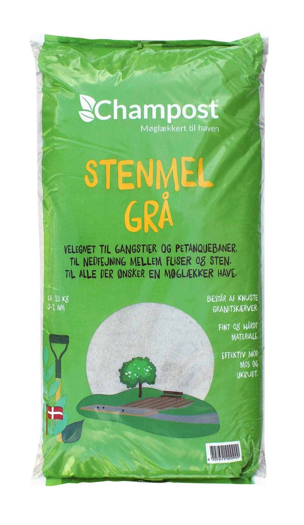 Champost Stenmel, 0-2 mm, 20 kg. sort eller grå
