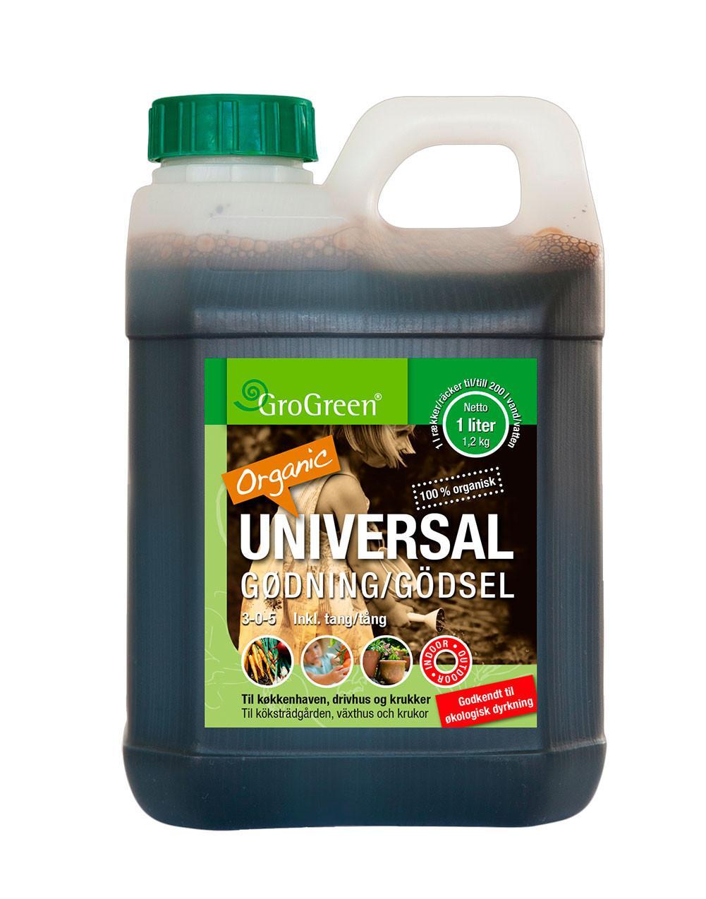GroGreen Bio Universal gødning - NPK 3-0-5 - 1 liter