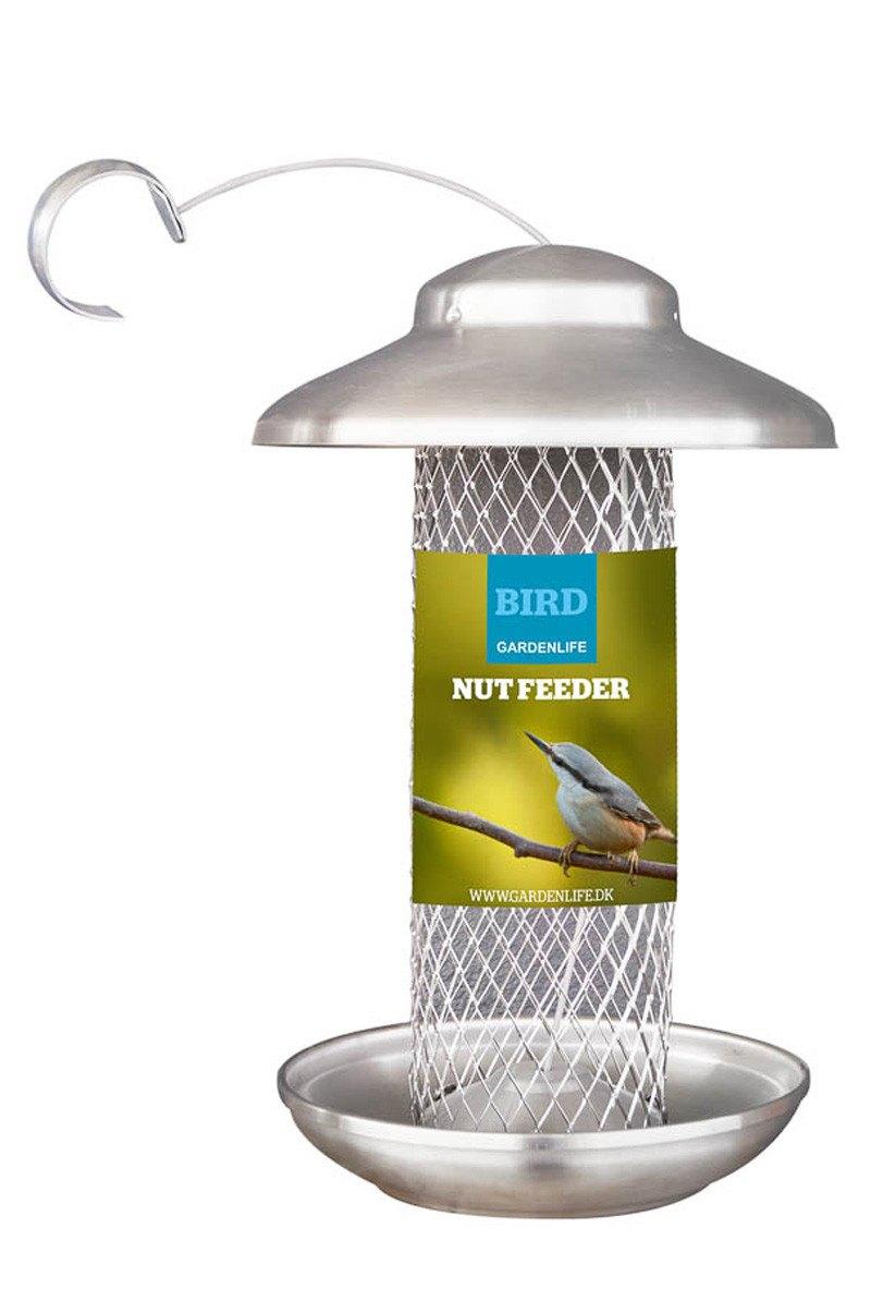 Nut feeder, foderautomat til nødder, børstet rustfrit stål, 28 cm