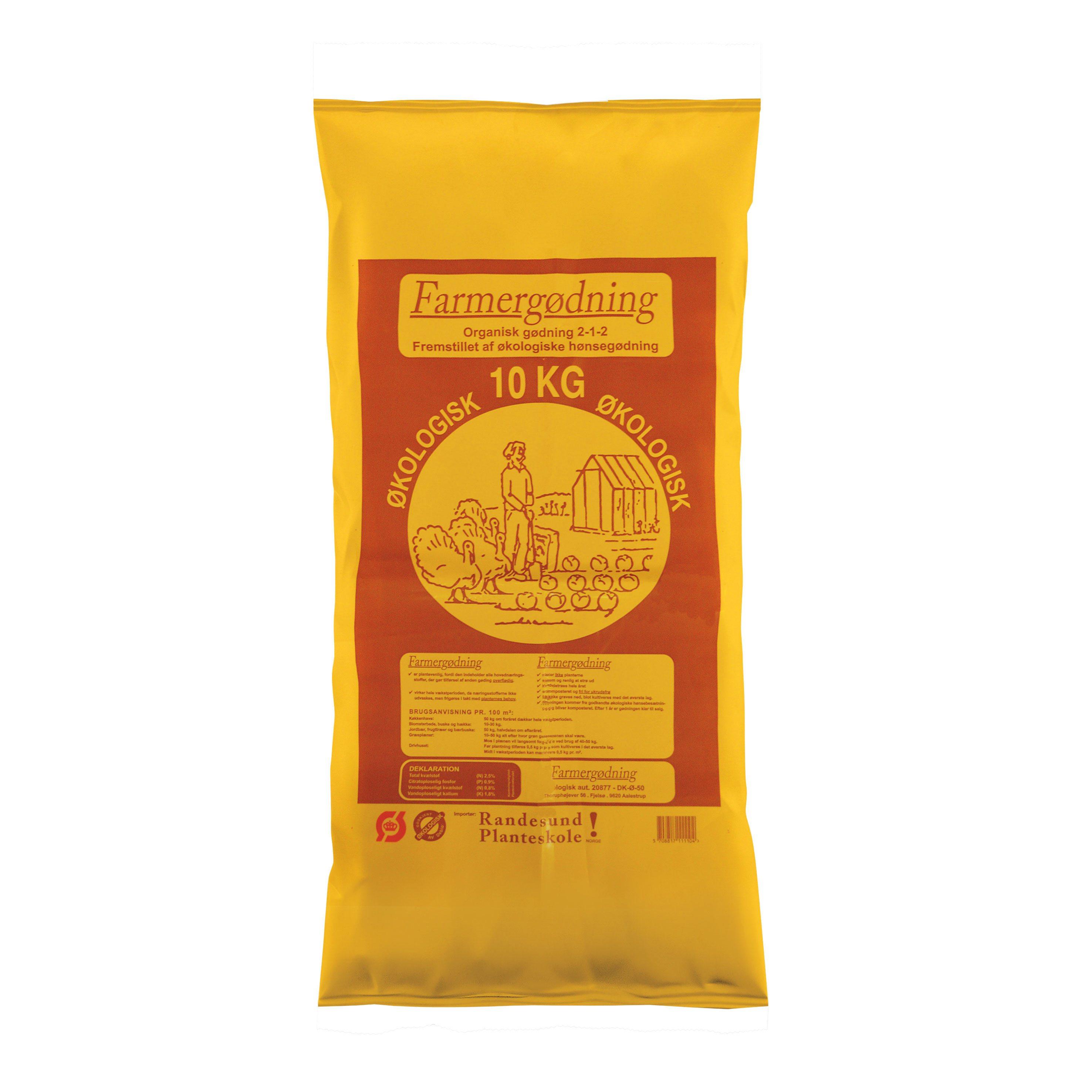 Farmergødning Økologisk Hønsegødning granulat - 10 kg
