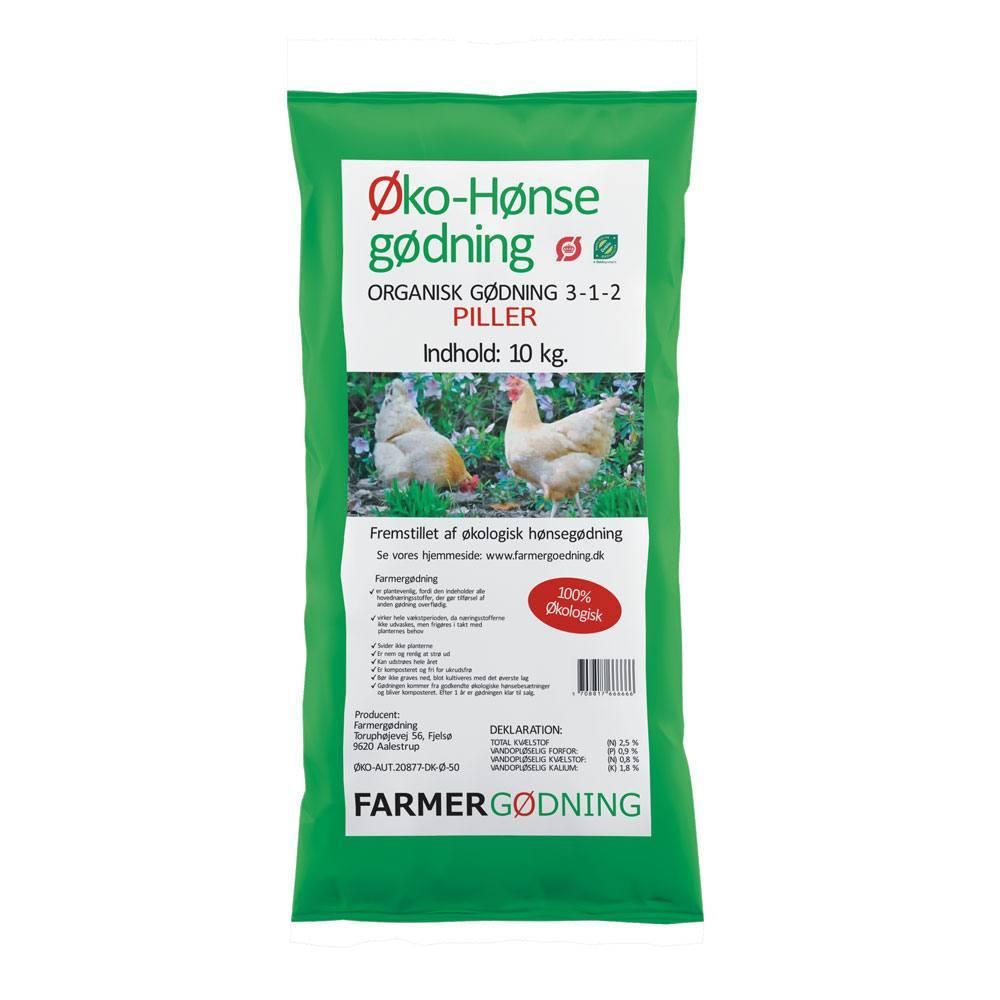 Farmergødning Økologisk Hønsegødning piller - 10 kg