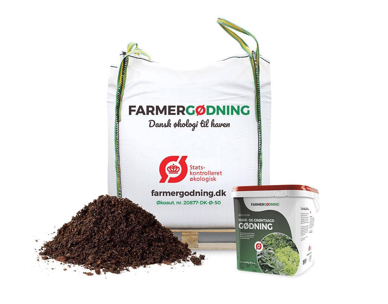 Økologisk køkkenhave og drivhusmuld og gødning