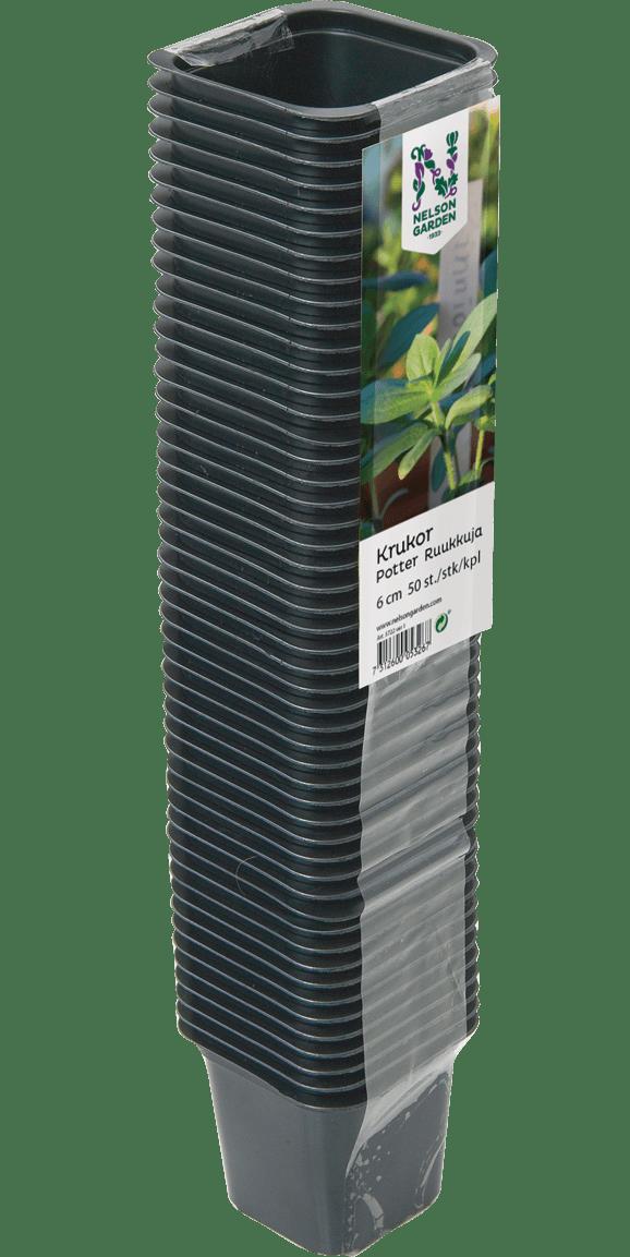 Urtepotte, sort, firkantet, 6 cm, 50 styk