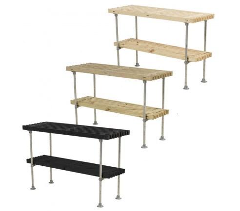PLUS - Tralle grill- og anrettebord med hylde - 49x140x90 cm