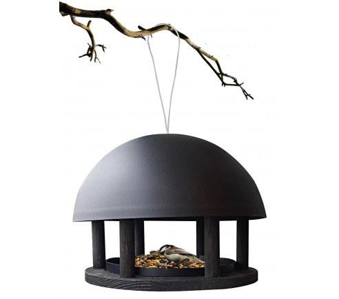Foderhus Dome, sort træ og pulverlakeret stål - hængende