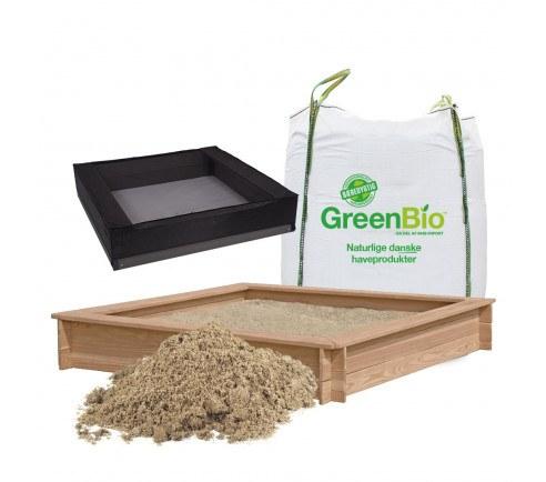 Sandkasse med bænk, udført i lærketræ