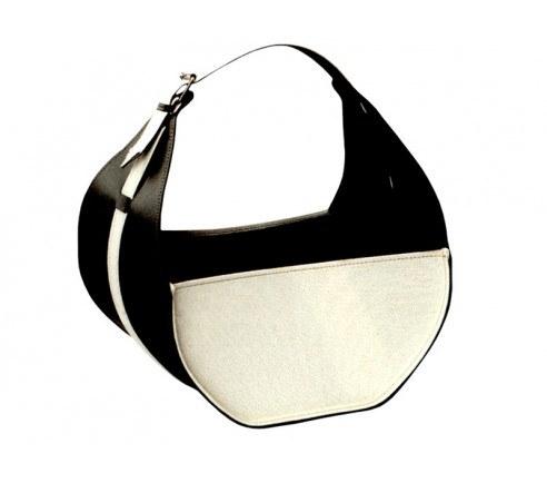 Brændekurv sort/hvid læder