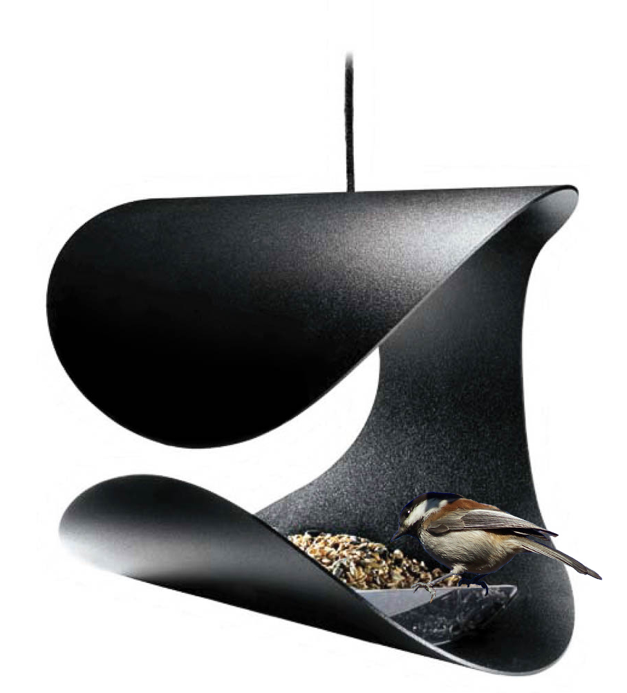 Foderhus Stolen, sort pulverlakeret stål