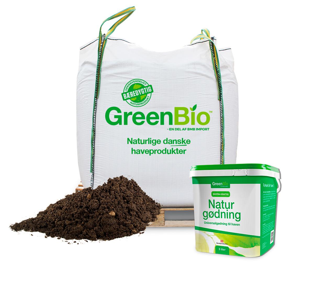 Image of   GreenBio Hækjord og 5 liter Naturgødning - Bigbag á 1000 liter.
