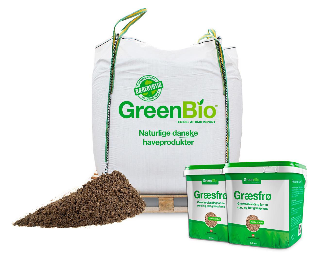 Image of   GreenBio Topdressing bigbag og 2 spande græsfrø