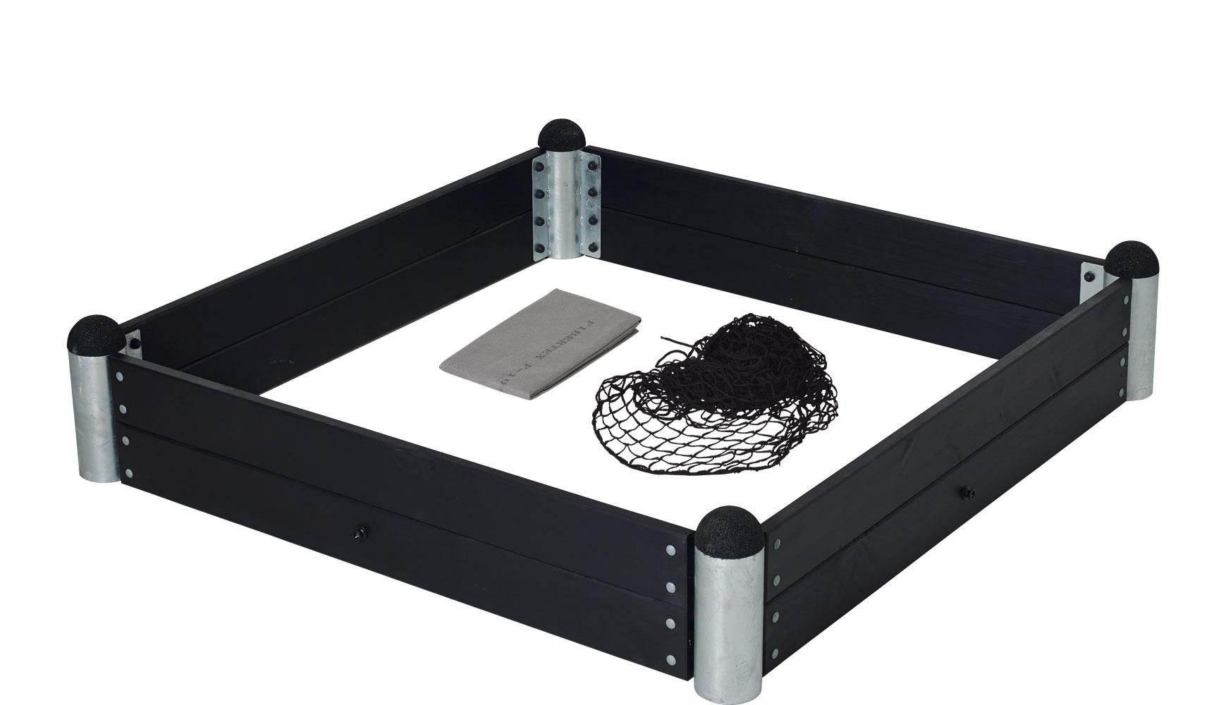 Pipe sandkassekit  - inkl. trykimp. planker - grundmalet sort
